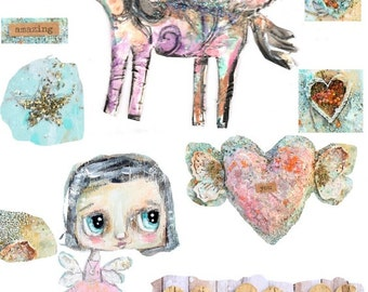 Unicorn and fairy- digital image for papercraft, a printable image, collage sheet, craft project
