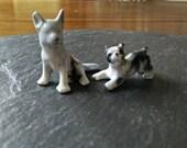 2 cute pets DISTRESSED broken wolf dog Germany & puppy vintage ceramic animal figurines birthday Back to School terrarium art supply set