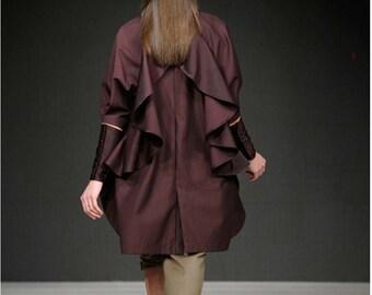 Ruffle statement victorian cuff sleeves jacket blazer coat  suit burgundy