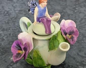 Vintage Miniature Teapot -  Collectible Fairy - Spring Pansies - Fairy Garden - Tiny teapot - Purple fairy