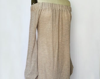 Off-The-Shoulder Dress Taupe Sweater Knit Taupe Pullover Women Etsy Handmade Bardot