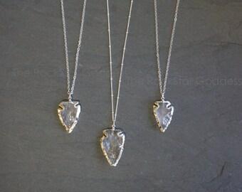 Arrowhead Necklace // Quartz Arrowhead // Quartz Necklace // Quartz Crystal // Crystal Necklace // Layering Necklace