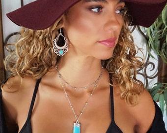 SALE Shani Silver Turquoise Stone Chandelier Dangle Earrings