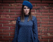 Blue beret - Blue felt hat - Hat with leaves - Vintage style hat - Blue wool beret - Blue woman hat