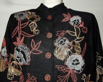 Sz L XL Soutache Trim Tunic Top Blouse - Sequins Beads Metallic Applique - Indigo Moon - Size 10 12 14 - Mao Nehru Collar Asian Style Qipao