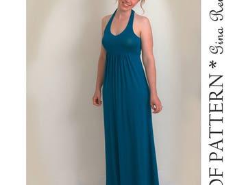 Womens Dress Pattern - Dress Sewing Pattern - Ladies dress pattern - Halter Maxi Dress sewing pattern