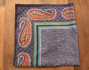 Vintage Italian Baar and Beards paisley navy neck scarf kerchief preppy retro