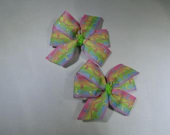 Pastel Rainbow Pinwheel Bows, Ombre Hair Accessory, Rainbow Birthday Party, Rainbow Baby Gift, Rainbow Baby Shower, Easter Hair Barrette