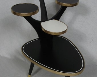 50s 60s Large Coffee Table, PLANT TABLE 5 Levels, Black White Red, Rockabilly Era, German Mid Century Modern