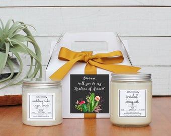 Bridesmaid Gift Set | Maid of Honor Gift Set -  Cactus Label -  Personalized Bridesmaid Gift | Candle and Sugar Scrub Set