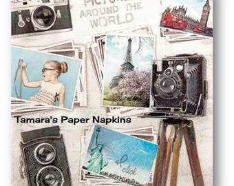 4 Decoupage Napkins, 2000 Designs Craft Paper Napkins, TRAVEL PICTURES VINTAGE 33cm 13 Inch. Papercraft, Visual Arts and Collage