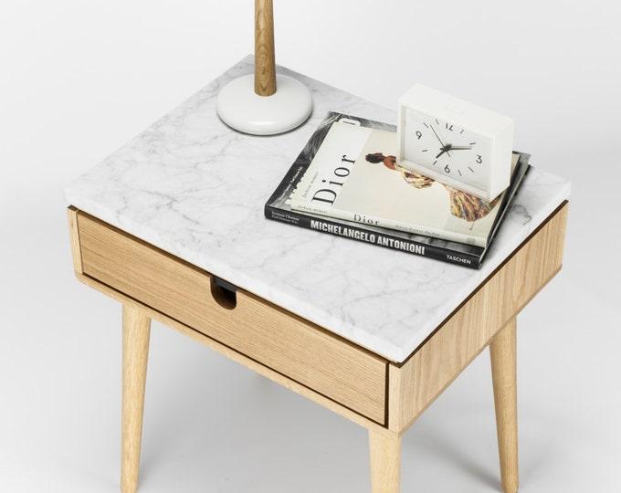 Oak Mid-Century modern bedside table / nightstand in solid oak board