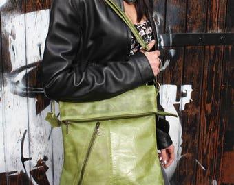 Amelie, Apple Green Leather Bag, Adjustable Messenger, Shoulder Bag, Cross-body, Foldover Zip Bag
