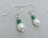 Emerald White Pearl Earrings Sterling Silver Earrings Green Emerald Gemstone May Birthstone Jewellery Gift Anniversary Bridal Jewelry