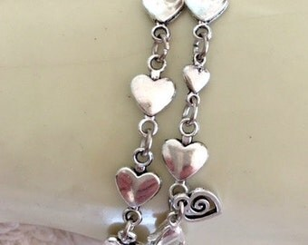 Little Silver Hearts Bracelets - Tibetan Silver Hearts Chain Link Bracelet - Girls Heart Bracelet