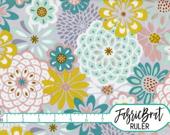 TEAL MINT & GRAY Floral Fabric by the Yard Fat Quarter Modern Large Floral Fabric Quilting Fabric 100% Cotton Fabric Apparel Fabric a4-19