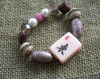 Pink Mahjong Bracelet - Jesse James Jewelry -  Oriental Look Jewelry -  Mahjong Gift - Mahjong Shop