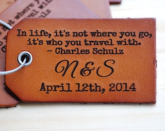 Bridal Shower Gift, Leather luggage Tag With Quote, Bridal Shower Gift For Bride, Wedding Shower Gift Under 15, Honeymoon Wedding Gift,