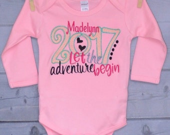 Happy New Year 2017 Applique Shirt or Onesie Boy or Girl