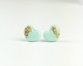 Dainty Mint & Gold Studs, Post Earrings, Leaf, Gold Dipped, Clay, Minimalist Earrings, Tiny Studs, For Her, Dainty Earrings, Jewelry, Her