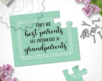 Only The Best Parents Get Promoted to Grandparents Announcement Greeting Puzzle Card Grandparents Gift Pregnancy Baby Reveal Ideas, Pastel