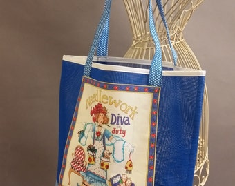 Mesh Tote. 'Needlework Diva on Duty' Blue and White Bag with Shoulder Straps. Project, Market or Beach Bag. From MDS Creative.