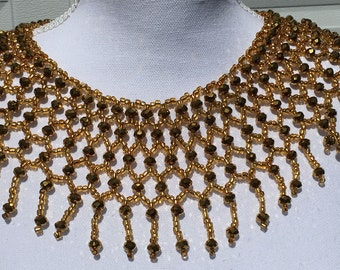 Gold Beaded Necklace, Statement Necklace, Gold Collar, Beaded Capelet, Gold Capelet, Fringe Collar, Collar, Capelet, Fringe, Cleopatra