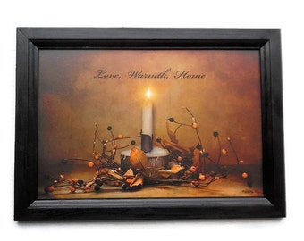 Love, Warmth, Home, Primitive Home Decor, Robin-Lee Vieira, Candle Picture, Country, Art Print, Handmade, 21 X 15, Wood Frame, Made in USA