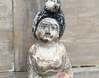 Vintage plaster Asian woman figure