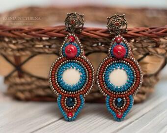 Beauty gift, Christmas gift for women, Embroidery earrings, Winter gift wife, Earrings for women, Indian Earrings, Tribal earrings