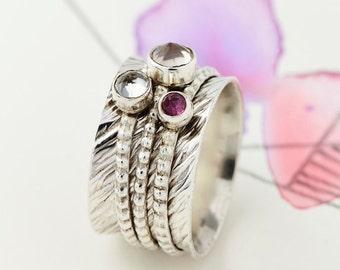 Spinner Rings,Gemstone Rings,Birthstone Rings,Worry Rings,Spinning Rings,Topaz Rings,Thumb Rings,Fidget Ring,Statement Rings,Boho Ring JR139