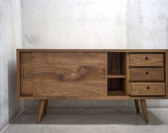 "48"" Solid Black Walnut Credenza/ Sideboard/ Cabinet/ Media Console *"