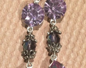 Purple Crystal Dangle Earrings - Purple Swarovski Crystal Dangle Earrings - Purple Earrings -  Purple Crystal Dangle Earrings (Item #6655)