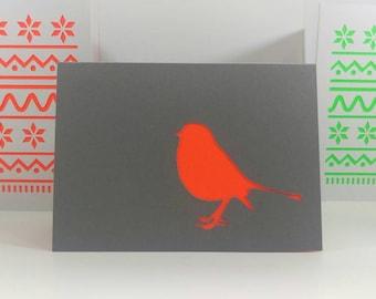 Papercut Christmas Card: Robin. Neon & Grey