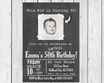 This Kid is turning....Any Year Photo SURPRISE Birthday Personalized Chalkboard invitation-OR Remove surprise Party! (INVITE-Surprise)