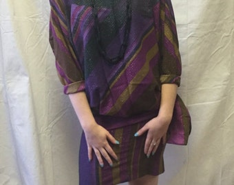 Vintage 80s Top & Skirt Set in Purples and Gold Metallic Pinstripe