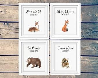 SET OF 4 woodland nursery art prints, bear, fox, deer, owl kid's signs, clever fox, brave bear, wise owl, adventure theme, instant download