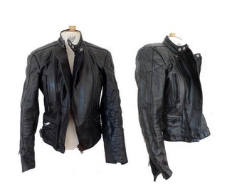 90s 80s MOTO STAR biker black leather JACKET // 90s steampunk leather jacket // size small