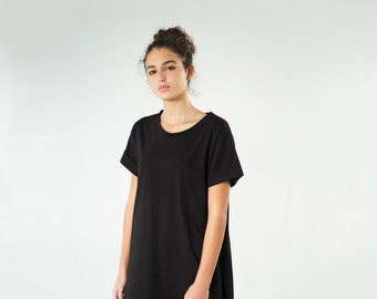 Black t shirt dress, women's t shirt dress, oversize t shirt dress,oversize tunic, black tunic, minimalist dress, black casual dress