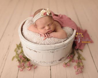 Cream, pink and coral floral tie back. Newborn tie back. Newborn photo prop. Pink tieback.
