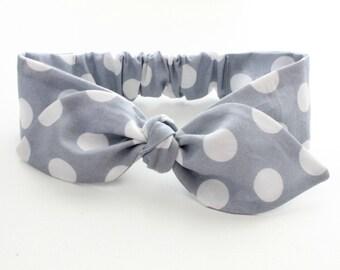 Grey girls headband, baby knot headband, dotty polka dot slate grey headband