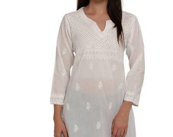 Indiankala4u White Hand Embroidery allover Chikankari beach cover up / Kurtis/Top/Tunic/ kurta / blouse   for summer  women/ladies/girls