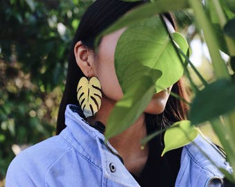 XL Monstera Earrings | Monstera Drop Earrings | Large Brass Earrings | Monstera Plant | Tropical Leaf Earrings | Plant Lady | Made-To-Order