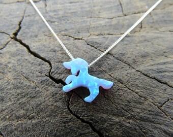 Opal necklace opal unicorn necklace blue opal necklace opal silver necklace opal jewelry unicorn necklace opal jewelry october birthstone