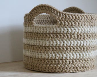 PATTERN - Chunky crochet basket pattern - Crochet Easter basket pattern - Easy crochet patterns - Crochet basket with handles - DIY basket
