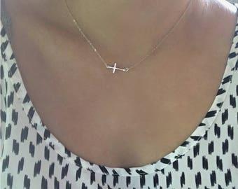 Sterling Silver Sideways Cross