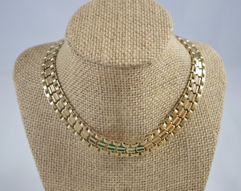 Vintage Goldtone Choker Necklace Rau Klikit Snap Closure Thick Chunky Choker Statement Necklace Choker Reversible Choker