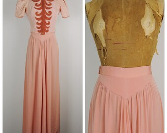 Vintage 40s Skirt / 1940s Blush Glam Maxi Skirt / Medium