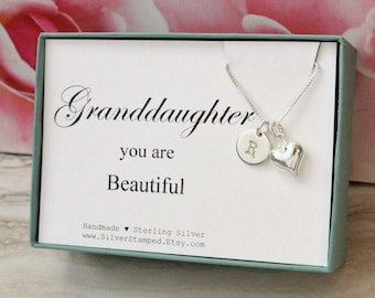Granddaughter Gift for Granddaughter Necklace, Sterling Silver Initial, You are beautiful, Granddaughter's birthday graduation confirmation