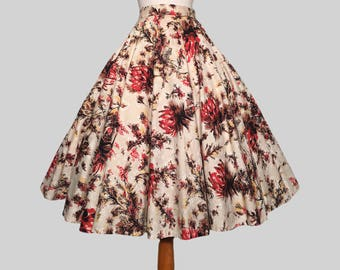 Vintage 1950s Hawaiian Tropical Flowers Print Cotton Full Circle Skirt / Pinup / Rockabilly / Bombshell / Swing